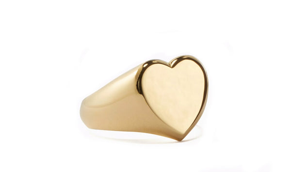 Heart Signet Ring in 18K Gold Plated