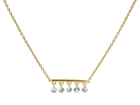 Thin Briolette CZ Golden Bar Necklace