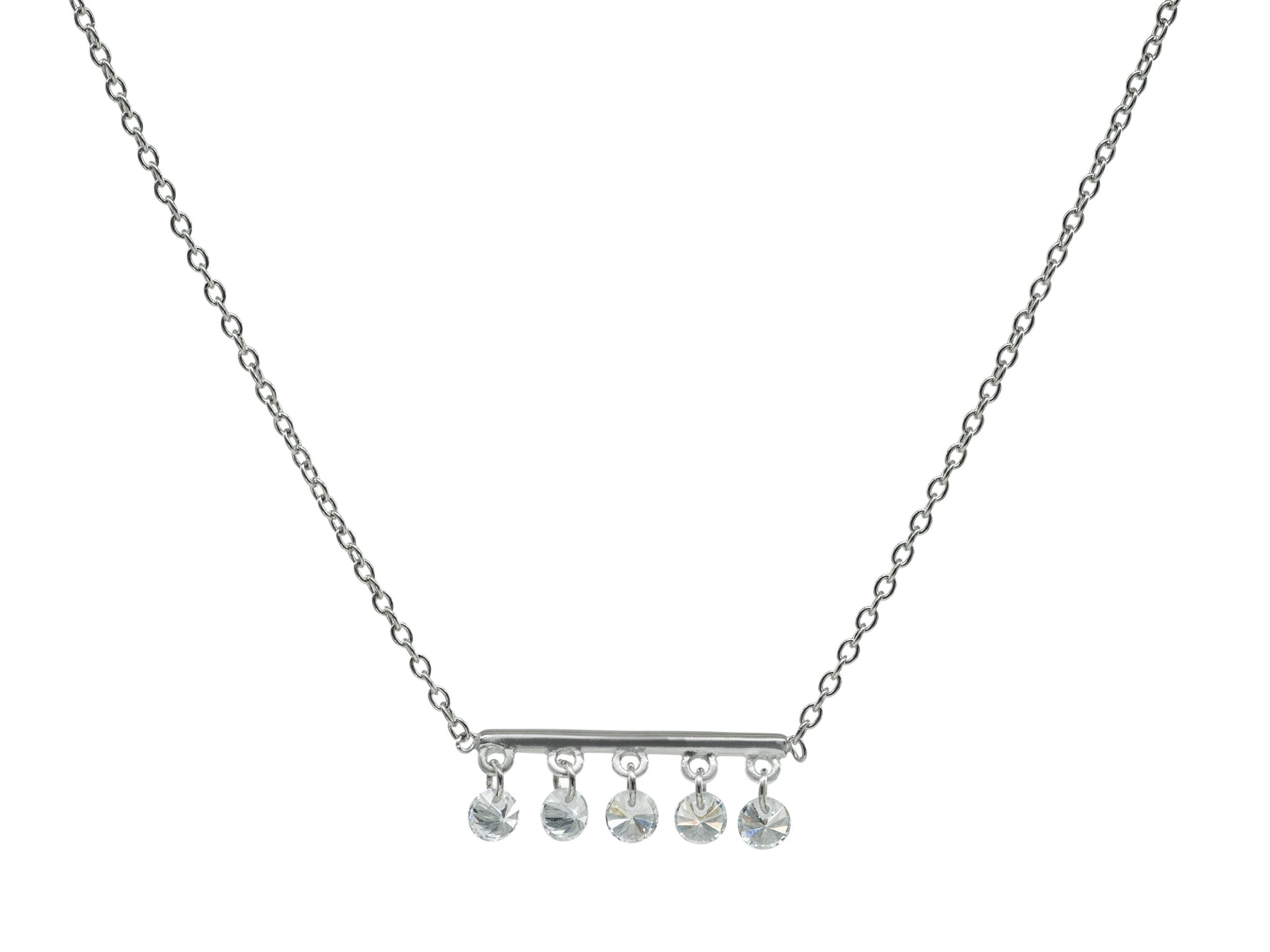 Thin Briolette CZ Bar Necklace