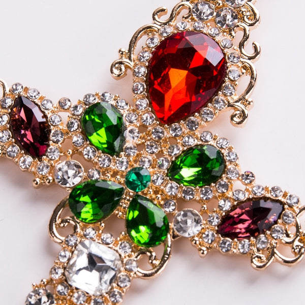 Large Multi Color Rhinestone Cross Drop Earrings