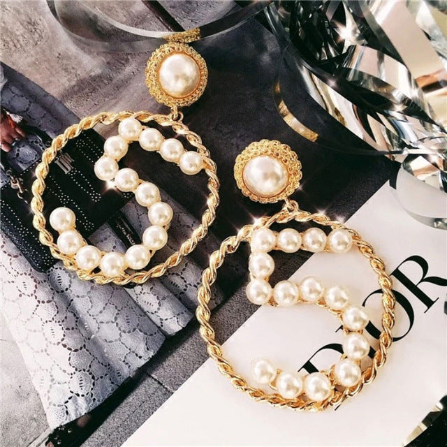 Open Circle Pearl No 5 Drop Earrings