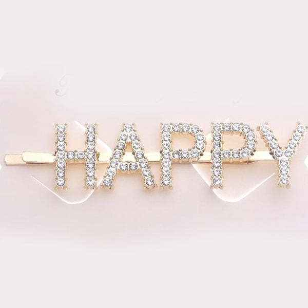 1 Piece Crystal Rhinestone Word Letter Hair Pin