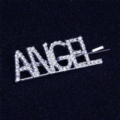 Angel Rhinestone Bobby Pin with Statement Word