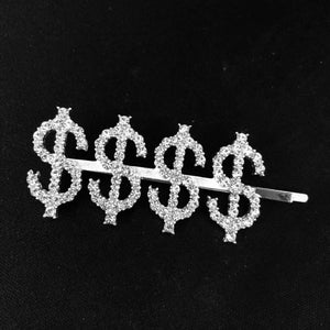 Dollar Sign $$$$ Rhinestone Bobby Pin with Statement Word