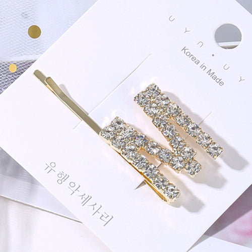 Letter Name Crystal Hair Clip Collection