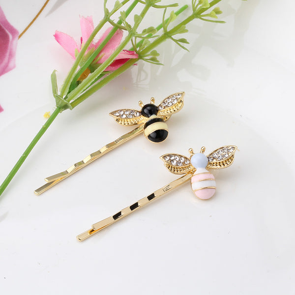 Rhinestone Bee Hair Pins