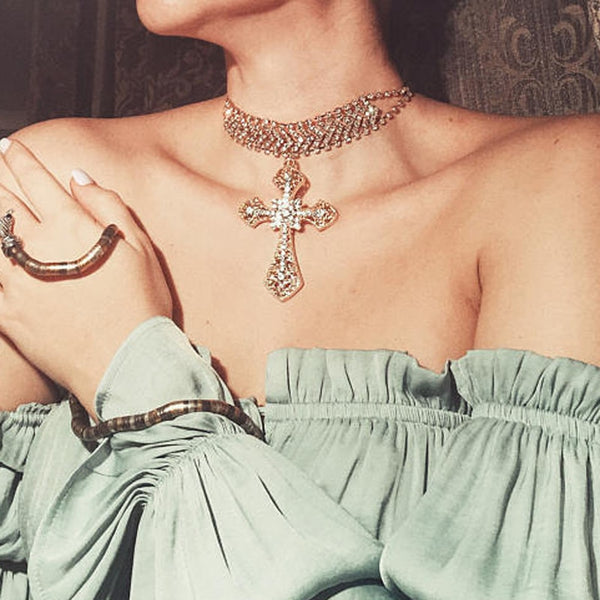 Large Crystal Cross Choker Necklace