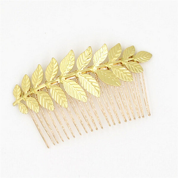 Silver or Gold Leaf Hair Comb Accessory