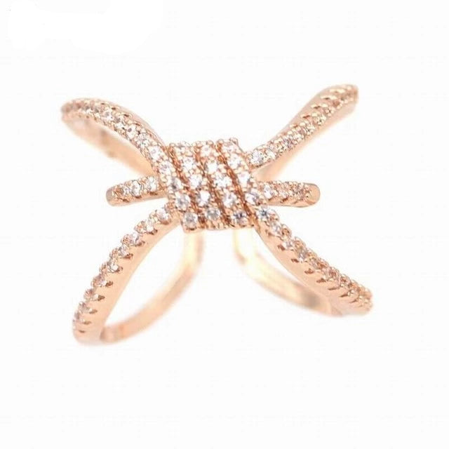 Rose Gold Adjustable Band Cross Knot Ring