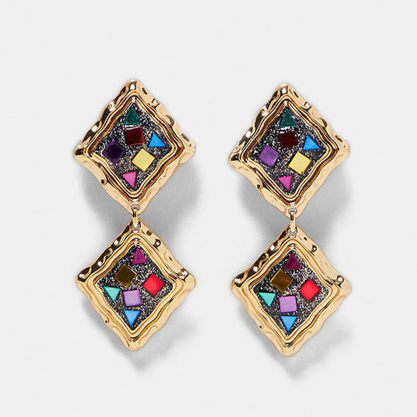 Geometric Statement Drop Earrings