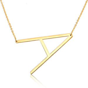 Gold Block Letter Monogram Necklace