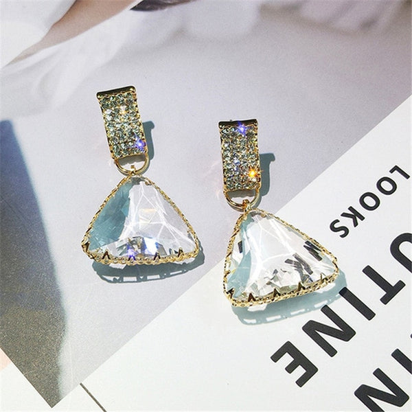 Golden Triangle Crystal Drop Earrings