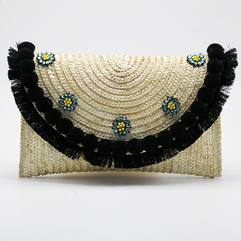 Jeweled Daisy Straw Tassel Clutch