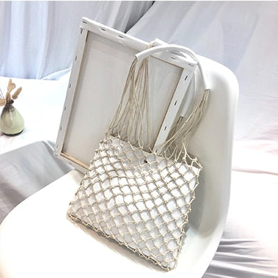 Designer Leather Hollow Out Net Purse