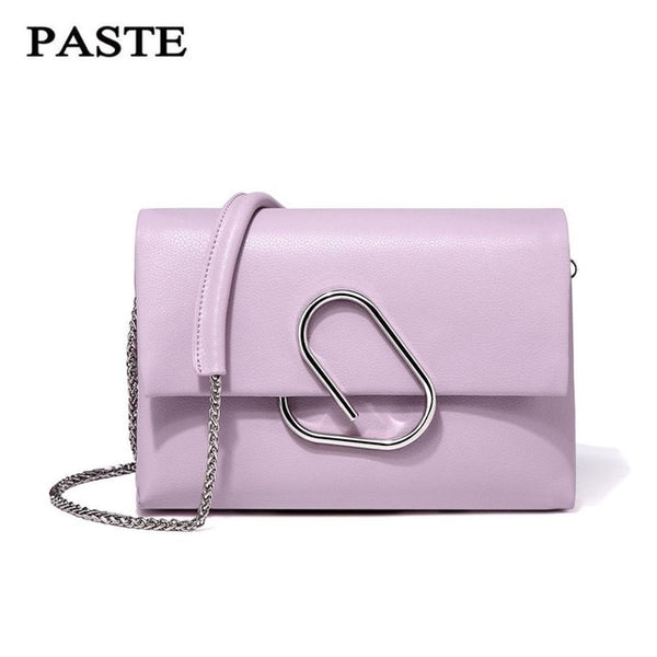 Paste Soft Leather Silver Clip Shoulder Bag