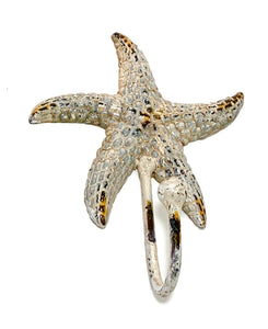 white distressed sea star hook