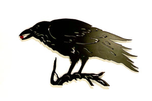 metal art raven with berry