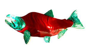 spawned sockeye metal art wall hanging