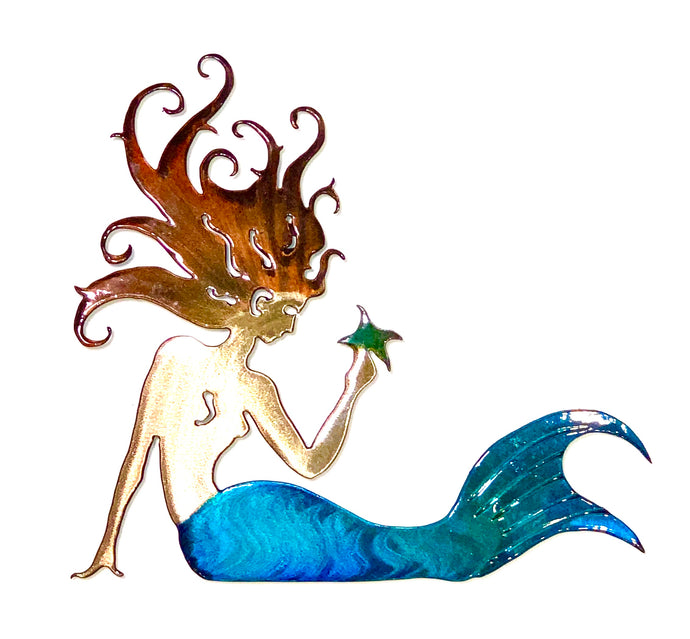 brunette mermaid holding sea star