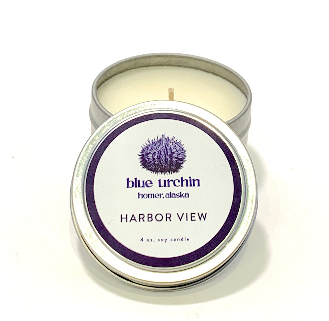 hand poured blue urchin harbor view candle