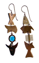 Load image into Gallery viewer, hinged collage fish earrings