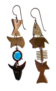 hinged collage fish earrings