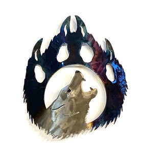 Metal art wolf paw right facing