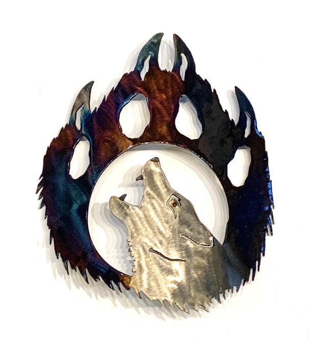 Metal art wolf paw left facing