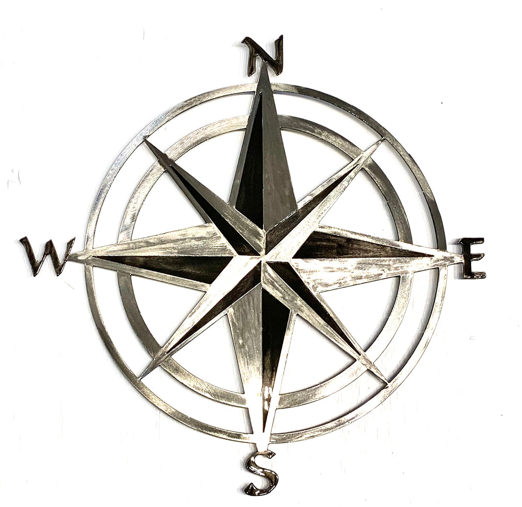 Metal art compass rose