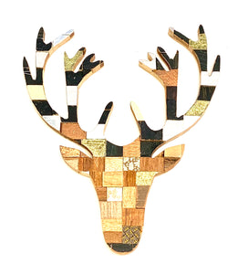 Block art English mount stag