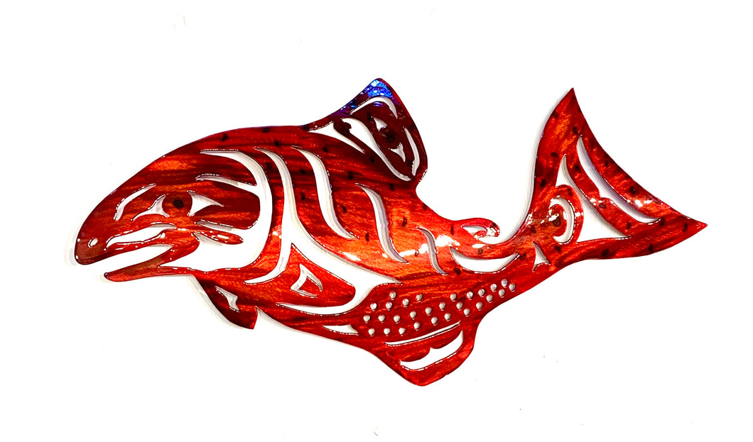 Metal art tribal salmon