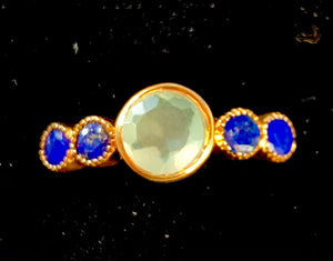 bezel set chalcedony and lapis ring