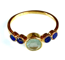 Load image into Gallery viewer, bezel set chalcedony and lapis ring