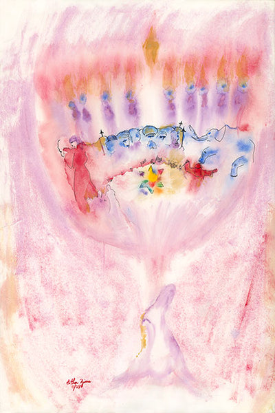 A rendering of a menorah, with many aspects of the Chanukah story hidden in the painting.