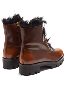 Shearling-lined leather ankle boots