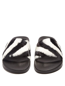Striped feather-embellished slides