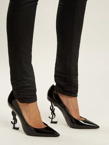 Opyum logo-heel patent-leather pumps