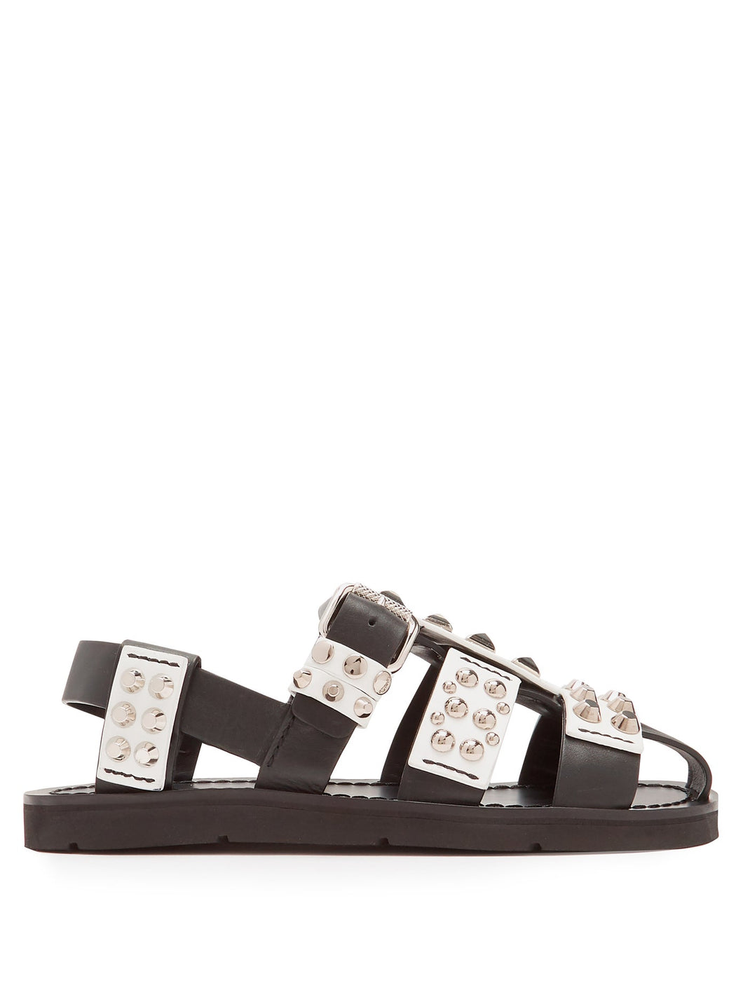 Stud-embellished leather sandals