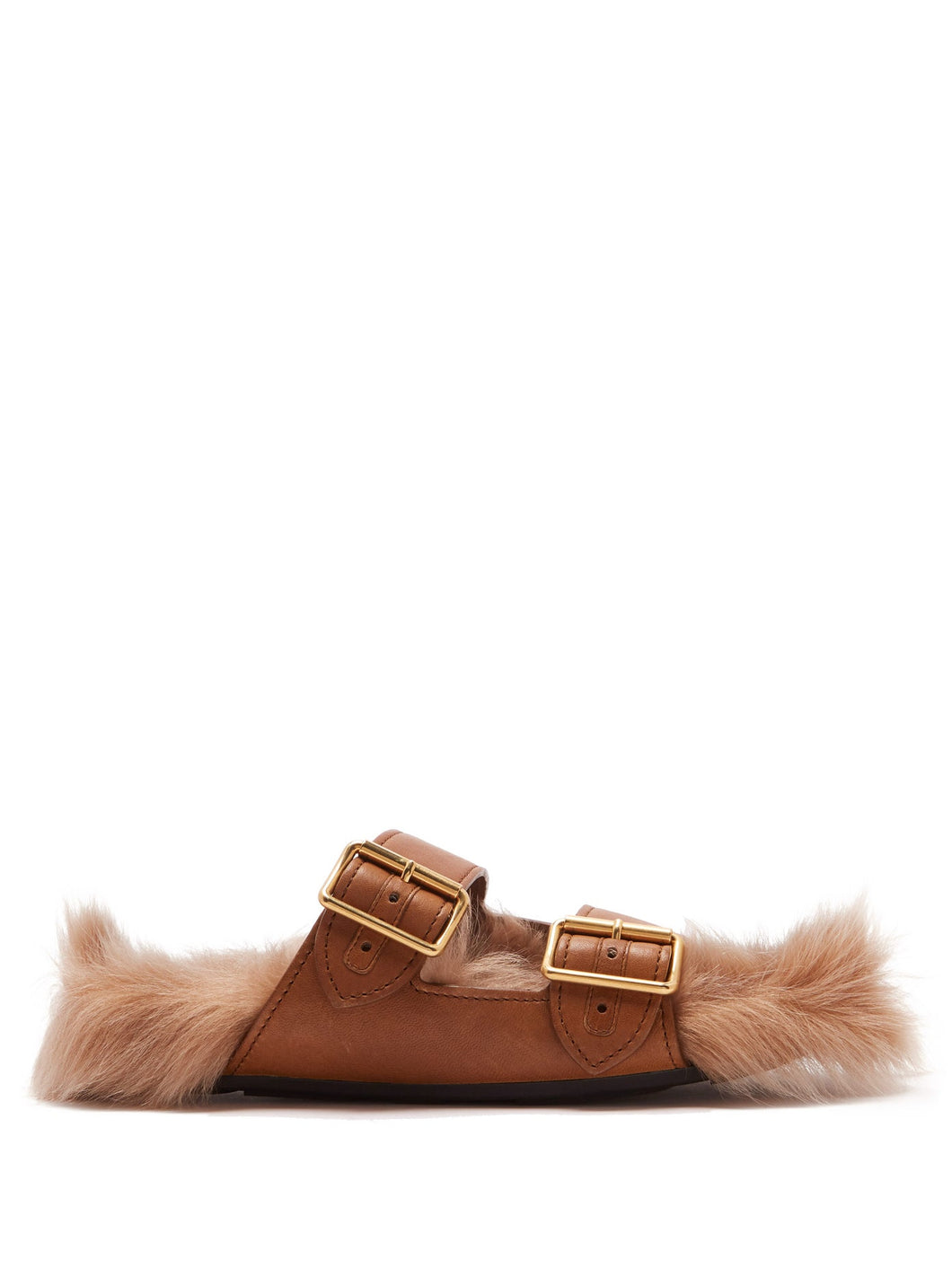 Shearling-lined leather sandals