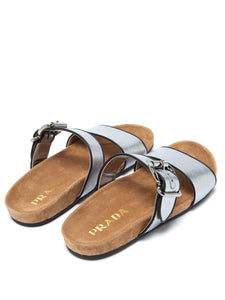 Double-strap metallic leather slides