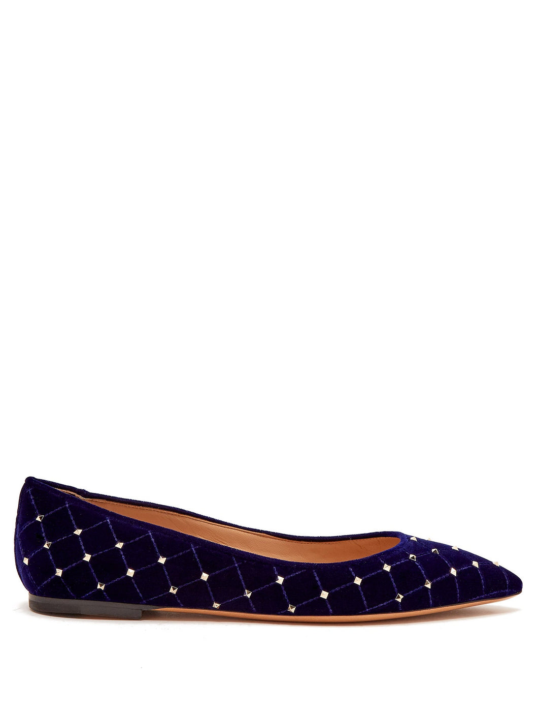 Rockstud Spike velvet point-toe flats