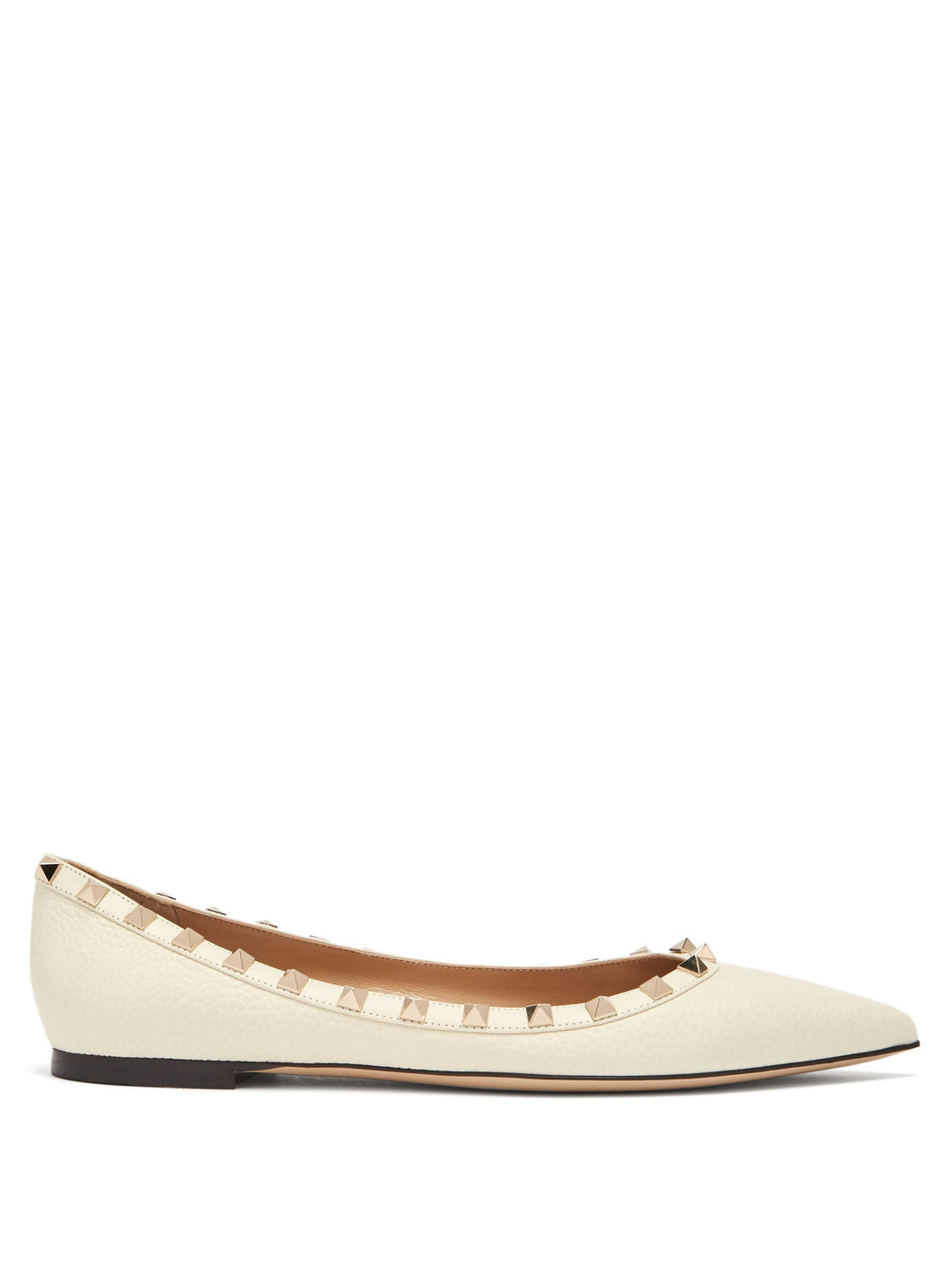 Rockstud grained-leather flats