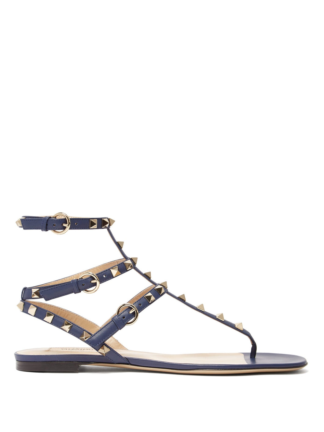 Rockstud flat leather sandals