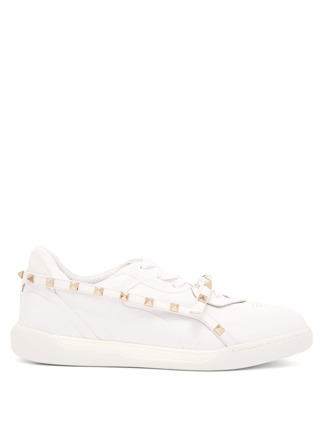 Rockstud low-top leather trainers