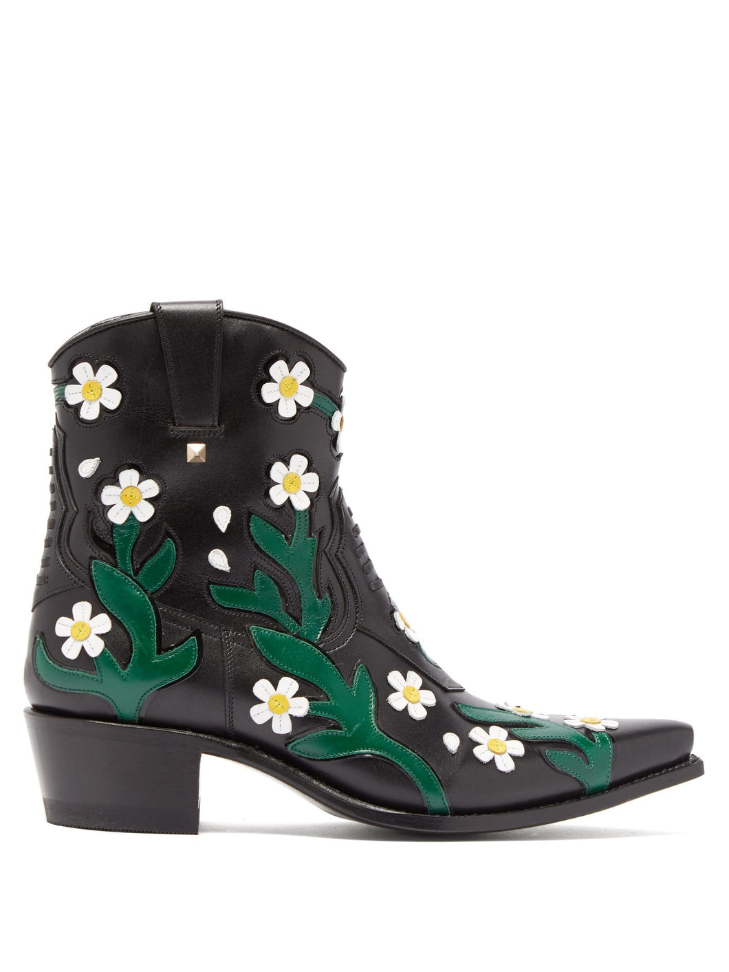 Ranch Daisy floral-appliqué western leather boots