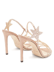 Lynn 100 crystal-embellished suede sandals
