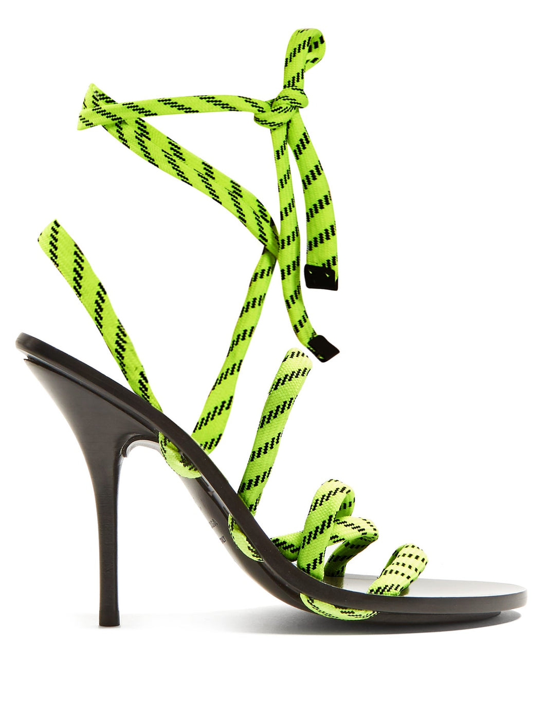 Fluorescent-laced wrap-around high-heeled sandals