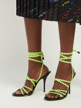 Load image into Gallery viewer, Fluorescent-laced wrap-around high-heeled sandals