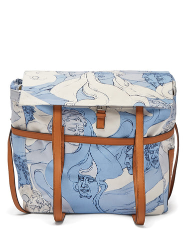 Faces-print canvas messenger bag