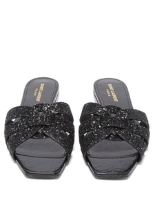 Tribute Nu Pieds glitter leather slides
